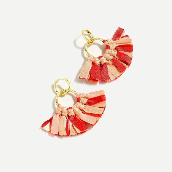 J.Crew Fabric Fan Earrings - Bright Pink